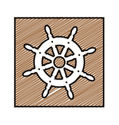 color pencil drawing square frame with boat helm vector image