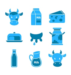 Dairy and milk flat icons set vector image vector image