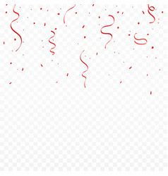 festive background with red ribbons and confetti vector image