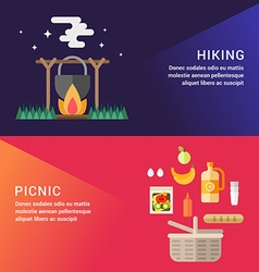 Hiking and picknic set of flat style for web vector