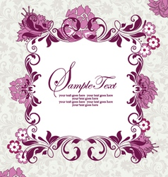 invitation card with purple flowers vector image vector image