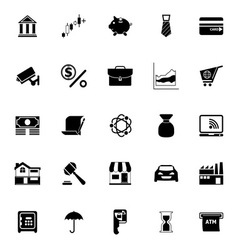 Banking and financial icons on white background vector image vector image