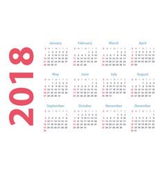 calendar for 2018 starts sunday calendar vector image vector image