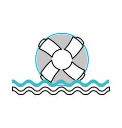 float lifeguard with sea waves vector image vector image