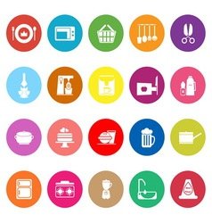 Home kitchen flat icons on white background vector image