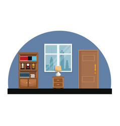 room interior bookshelf encyclopedia clock trophy vector image