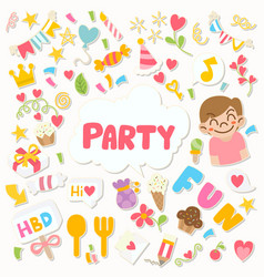 0102 hand drawn party doodle happy birthday vector