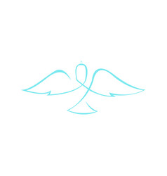 abstract dove wings line art symbol graphic vector image