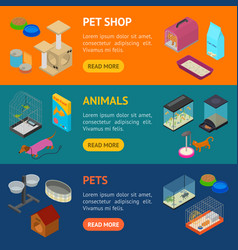 Accessories for domestic pets banner horizontal vector