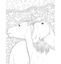 adult coloring bookpage two horses vector image
