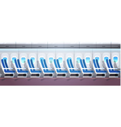 airliner passenger seats row with portholes empty vector image