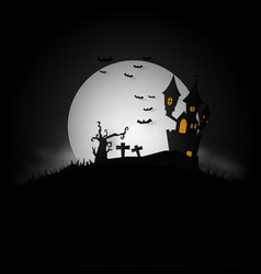 background with on a haunted house for halloween vector image