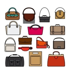 Bag colored icons Bags and handbags icons vector