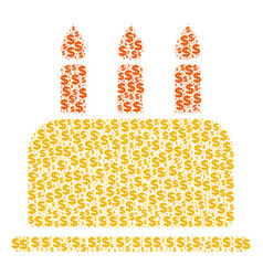 Birthday cake composition of dollar and dots vector