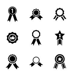 Black award medal icons set vector