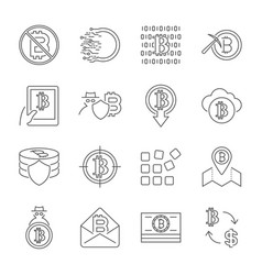 blockchain cryptocurrency icons modern computer vector image