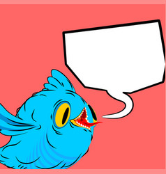 blue bird and speech bubble birdie and place for vector image