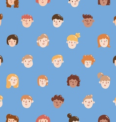Boys and girls colorful faces seamless pattern vector image