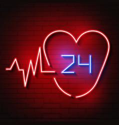 bright heart neon sign retro neon heart vector image