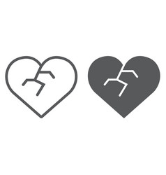 broken heart line and glyph icon love and broke vector image