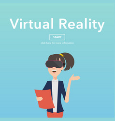 Busineswomen use virtual reality web page concept vector