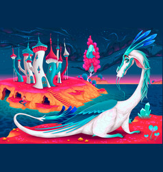 Cartoon dragon in a fantasy world vector