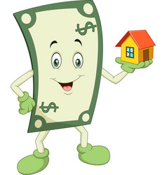 cartoon money holding a house vector image