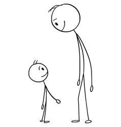 Cartoon of man and boy or father and son vector