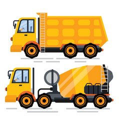 cement mixer and truck transporting goods vector image