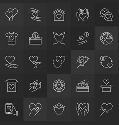 charity and donation outline icons donate vector image