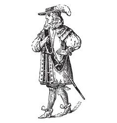 Charles ii costume vintage engraving vector