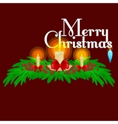 Christmas decorations such as candles on the vector image
