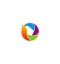 circle colorful media technology logo vector image
