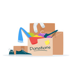 Clothes for donation flat vector