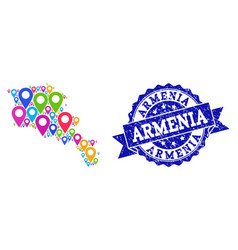 Collage map of armenia with map pins and distress vector