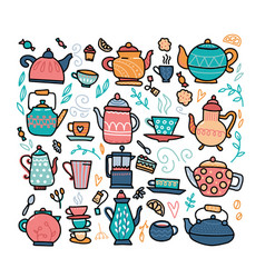 color set hand-drawn warming beverages and vector image
