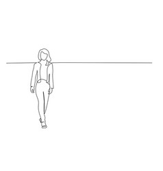 Continuous one line drawing walking office woman vector
