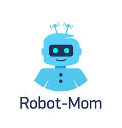 cute cartoon robots sign robot head avatar or vector image