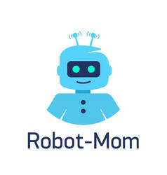 cute cartoon robots sign robot head avatar vector image