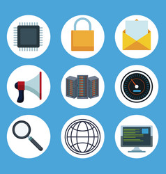data center technology round icons vector image