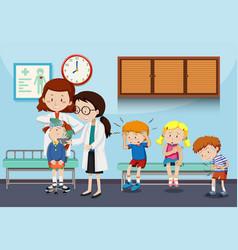 Doctors helping injured children vector