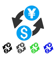 Dollar yen exchange flat icon vector