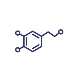 dopamine molecule line icon vector image