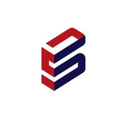 elegant letter s 3d flat concept vector image