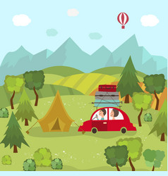Family car trip and camping in countryside fields vector