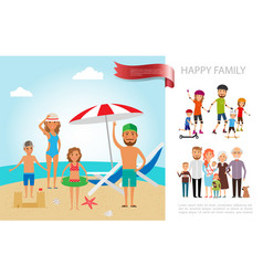 flat happy family colorful concept vector image