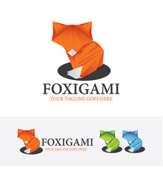 fox origami logo design vector image