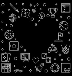 frame with video game outline icons in heart shape vector image