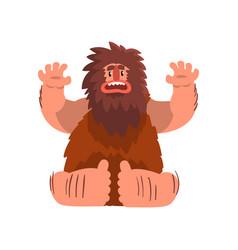 Funny primitive caveman stone age prehistoric man vector
