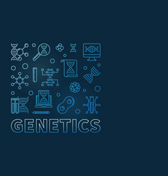 Genetics square minimal outline blue design vector